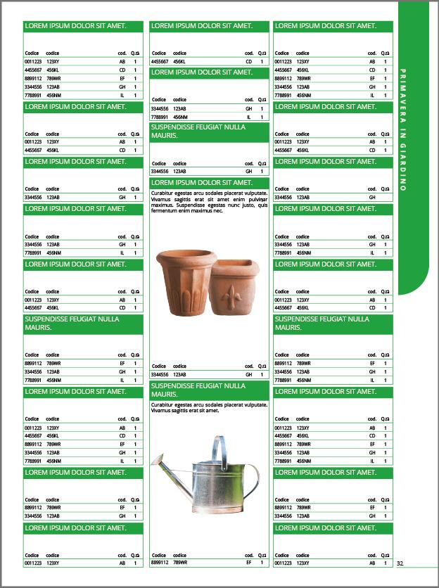 Impaginare listini e cataloghi - pagina dx
